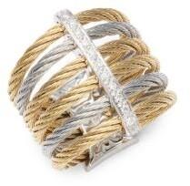Alor 18K Gold & Stainless Steel Diamond Midi Ring