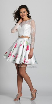 Dave and Johnny Long Sleeve Two Piece Lacey Fit and Flare Party Dress