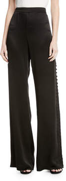 Alexis Belda Wide-Leg Side-Button Pants