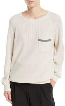 Brunello Cucinelli Cotton Rib-Knit Sweater w/ Monili Pocket Trim