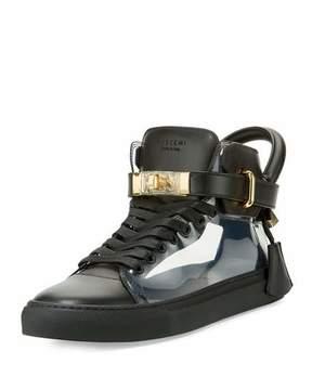 Buscemi Men's 100mm Leather & PVC Mid-Top Sneaker, Black