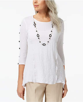 Alfred Dunner Barcelona Necklace Crepe Top