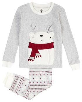 Petit Lem Baby Girl's Two-Piece Polar Bear Cotton Pajama Top and Pants Set