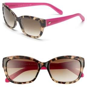 Women's Kate Spade 'Johanna' 53Mm Retro Sunglasses - Camel Tortoise