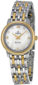 Omega DeVille Prestige Mother of Pearl Diamond Steel and Yellow Gold Ladies Watch