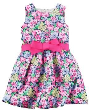 Carter's Little Girls Floral Crepe Dress 2T