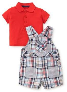 Little Me Baby Boy's Two-Piece Patchwork Cotton Polo and Shortall Set