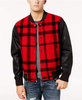 GUESS Men's Buffalo Check Bomber with Faux-Leather Sleeves
