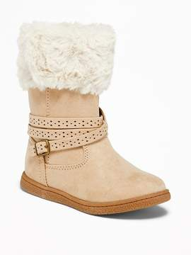 Old Navy Faux-Fur-Trim Buckled Boots for Toddler Girls