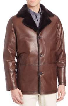 Saks Fifth Avenue COLLECTION Shearling Fur& Lambskin Leather Jacket