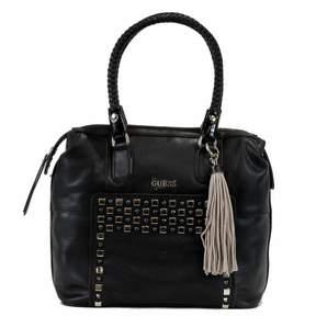 GUESS Women's Check Mix VG453810 Large Box Satchel Black Handbag