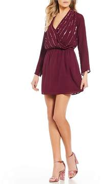 Chelsea & Violet C&V Split Neck Long Sleeve Sequin Dress