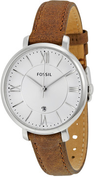Fossil Jacqueline Silver Dial Tan Leather Strap Ladies Watch