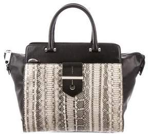 Milly Snakeskin-Trimmed Makenna Tote