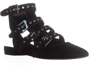 Dolce Vita Elodie Gladiator Buckle Sandals, Black Suede.