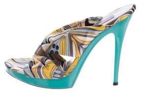 Emilio Pucci Silk Printed Sandals