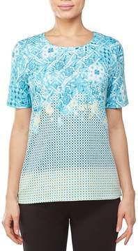 Allison Daley Petites Embellished Detail Crew Neck Printed Tee