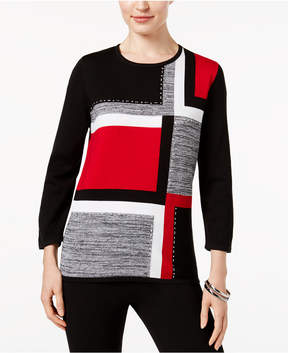 Alfred Dunner Talk Of The Town Colorblocked-Front Sweater