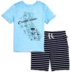 Splendid Boys' California Map Tee & Striped French Terry Shorts Set - Little Kid