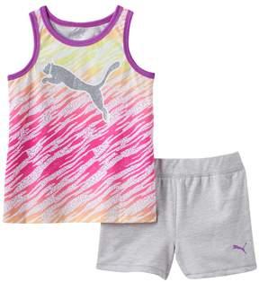 Puma Girls 4-6x Glitter Zebra Tank & Shorts Set