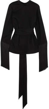 Ellery Lottery Fringed Satin-jersey Wrap Top - Black