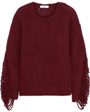 IRO Vasily Laddered Wool-blend Sweater - Burgundy