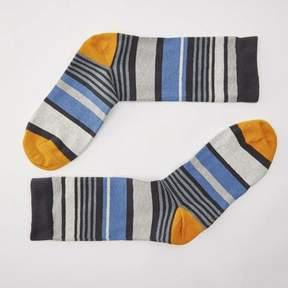 Blade + Blue Grey, Navy with Orange Variegated Stripe Socks