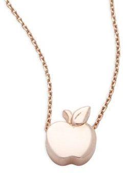Alex Woo Little Cities 14K Rose Gold Apple Pendant Necklace