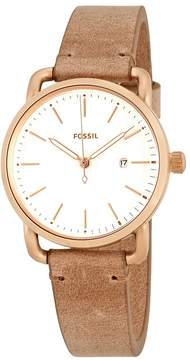 Fossil The Commuter White Dial Ladies Sand Leather Watch