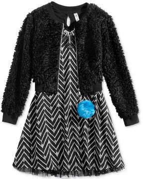 Beautees 2-Pc. Faux-Fur Bomber Jacket & Fit & Flare Dress Set, Big Girls (7-16)