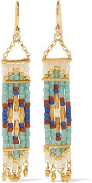 Chan Luu Gold-plated Beaded Earrings - Mint