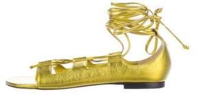 Tamara Mellon Metallic Leather Lace-Up Sandals