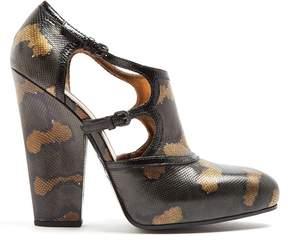 Bottega Veneta Block-heel watersnake pumps