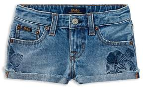 Polo Ralph Lauren Girls' Denim Cactus-Embroidered Cutoffs - Little Kid