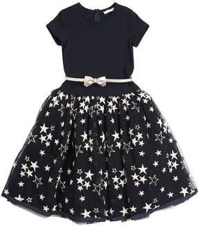 MonnaLisa Stars Embroidered Tulle & Jersey Dress