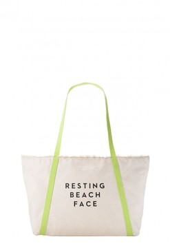 Resting Beach Face Canvas Tote