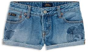 Polo Ralph Lauren Girls' Cactus-Embroided Denim Shorts - Big Kid
