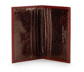 Aspinal of London | Double Credit Card Case In Cognac With Brown Snake | Smooth cognac brown snakeskin