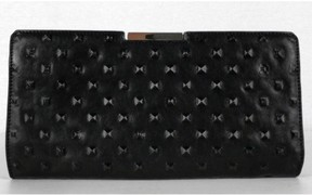 Milly Black Perry Stud Frame Leather Clutch