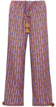 Figue Tasseled Printed Cotton-Blend Gauze Wide-Leg Pants