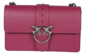Pinko Women's Fuchsia Leather Shoulder Bag.