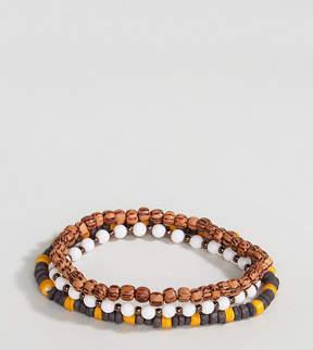 Reclaimed Vintage Brown Beaded Bracelet In 3 Pack Exclusive To ASOS