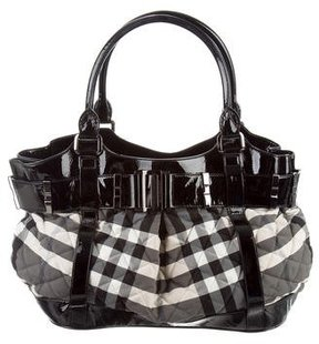 Burberry Beat Check Beaton Tote - BLACK - STYLE