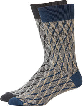 Zanella Men's Chequer Socks, Two Pack