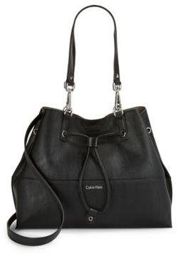 Calvin Klein Faux Leather Drawstring Tote