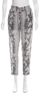Enza Costa Snakeskin Printed Chiffon Pants