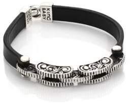 King Baby Studio Black Leather Rotary Link Bracelet