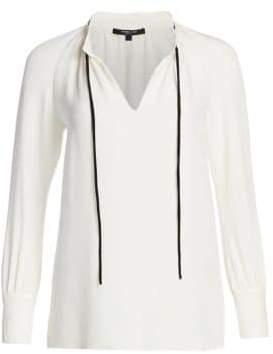 Derek Lam Long-Sleeve Tie-Neck Silk Blouse