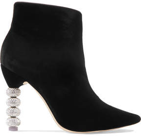 Sophia Webster Coco Crystal-embellished Velvet Ankle Boots - Black