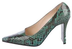 Chanel Snakeskin Square-Toe Pumps